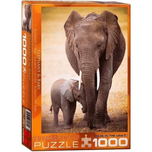 Elephant and Baby 1000 pc Jigsaw