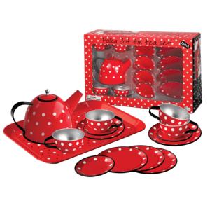Red Polka Dot Black Trim Tin Tea Set