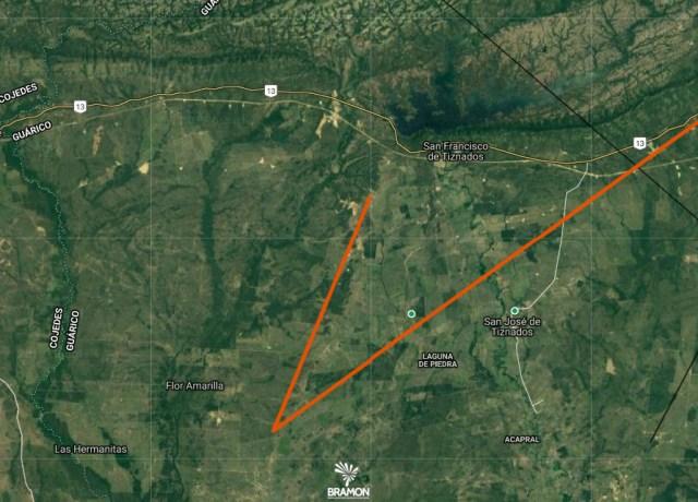Possível área de dispersão dos meteoritos