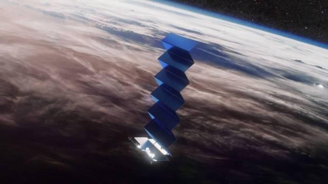 Satélite Starlink em órbita - Créditos: SpaceX
