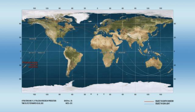 Previsão de reentrada calculada para às 23:07 (02:07 no horário universal) - Créditos: Joseph Remis