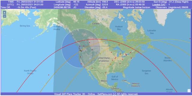 Objeto passava sobre o local exatamente na mesma hora em que foram feitas as filmagens - Fonte: satflare.com