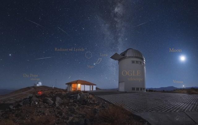 Meteoros da Líridas registrados a partir do Observatório Las Campanas, no Chile - Créditos: Yuri Beletsky