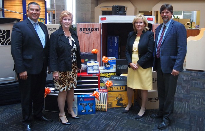 City Council Members in Attendance at Amazon Presentation - Councillor Michael Palleschi, Councillor Elaine Moore, Mayor Linda Jeffrey, Councillor Jeff Bowman.