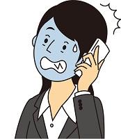 電話連絡で青ざめた女性のイラスト