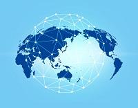 世界地図とネットワークのイラスト