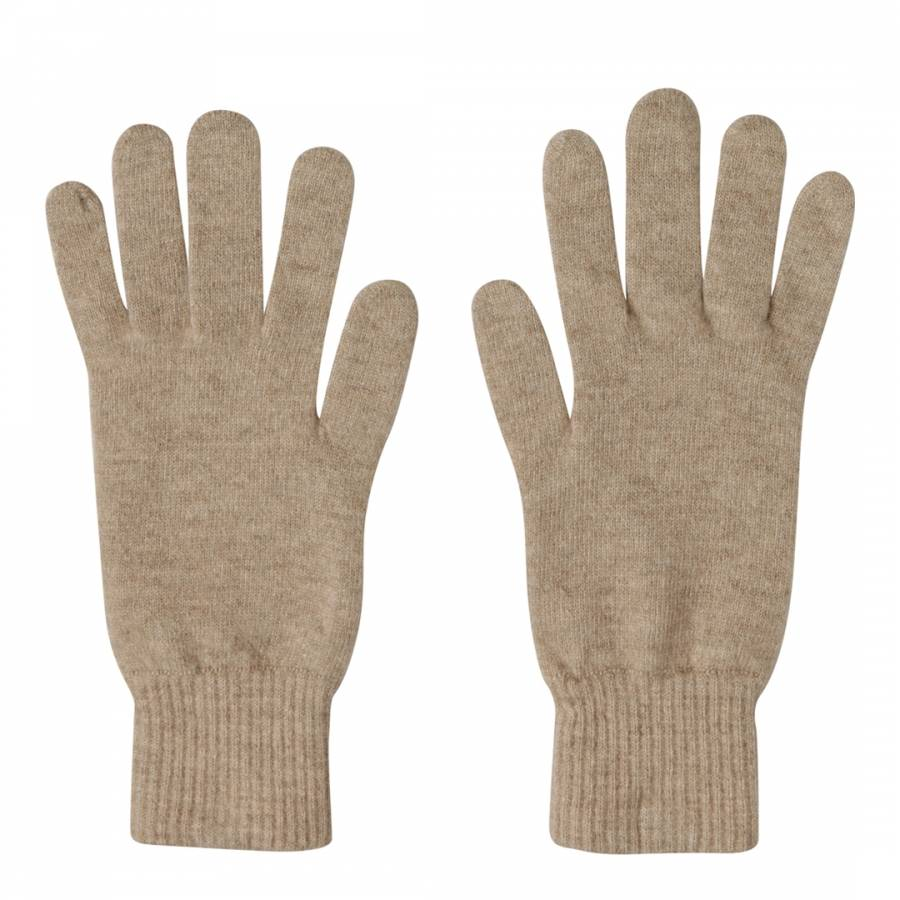 Cashmere gifts Taupe Ribbed Short Cashmere Gloves