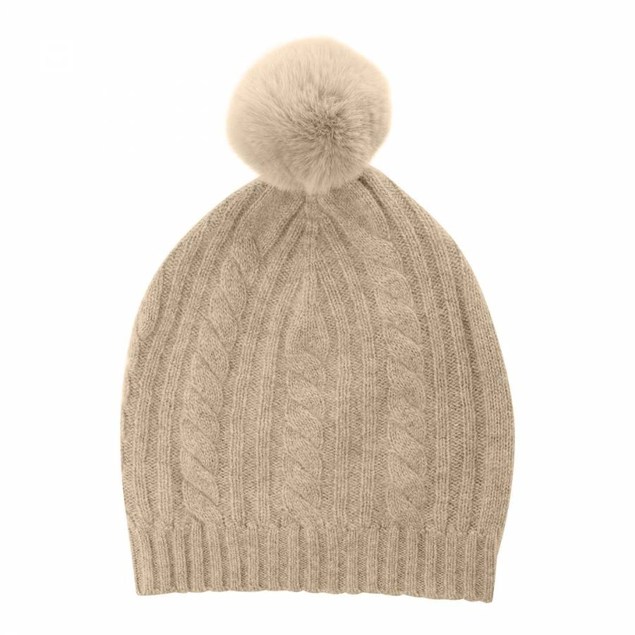 Laycuna London Cable Cashmere Knit Faux Fur Bobble Hat