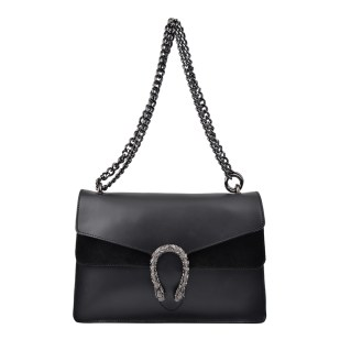Isabella Rhea Black Leather Shoulder Bag party outfits