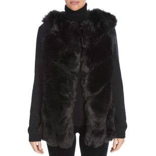 Jayley Collection Black Luxury Faux Fur Long Gilet party outfits