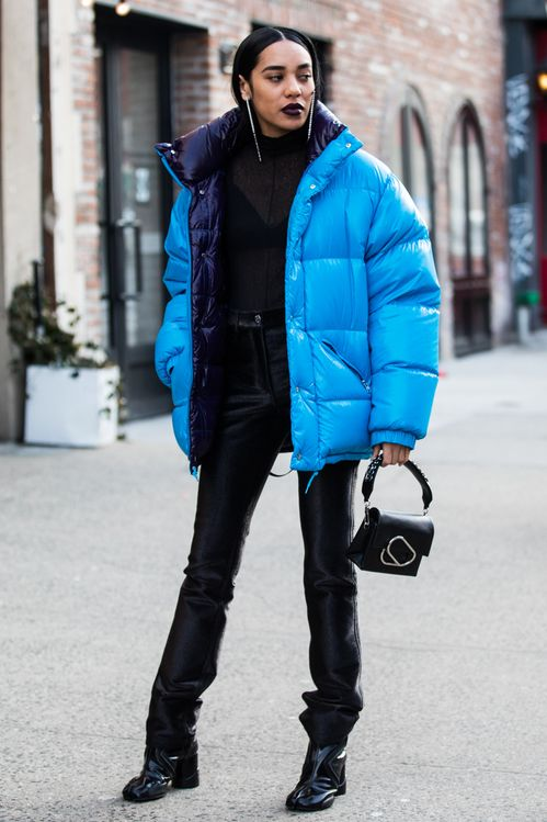 blue puffa jacket street style outfit vogue source