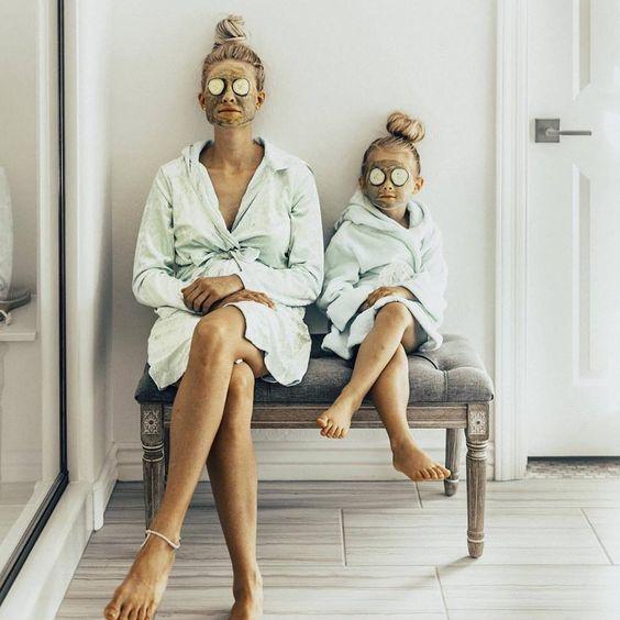 Mum and daughter relaxing