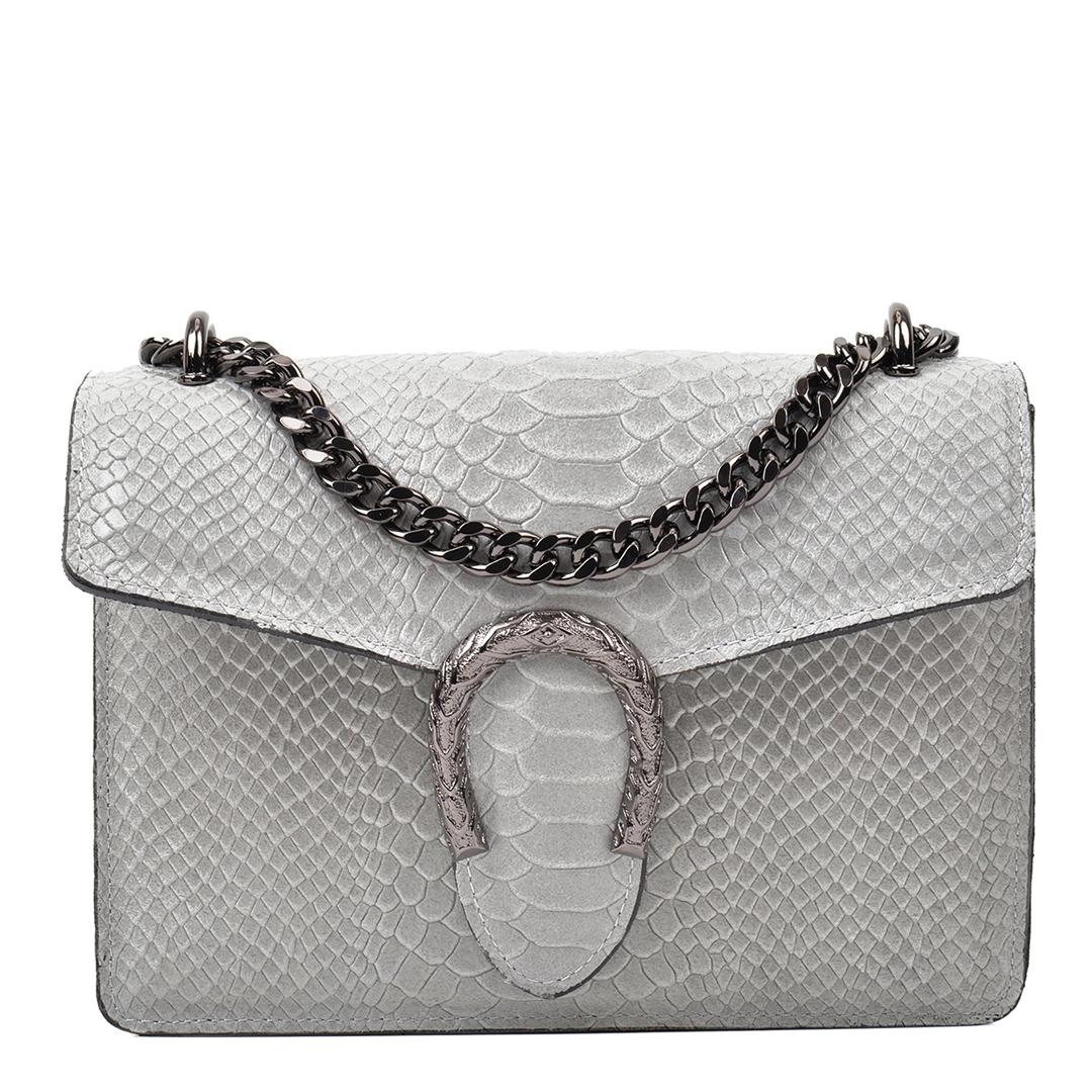 RENATA CORSI Grey Leather Shoulder Bag