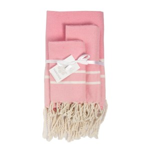 Febronie Stockholm Set of 3 Hammam Towels, Pale Pink