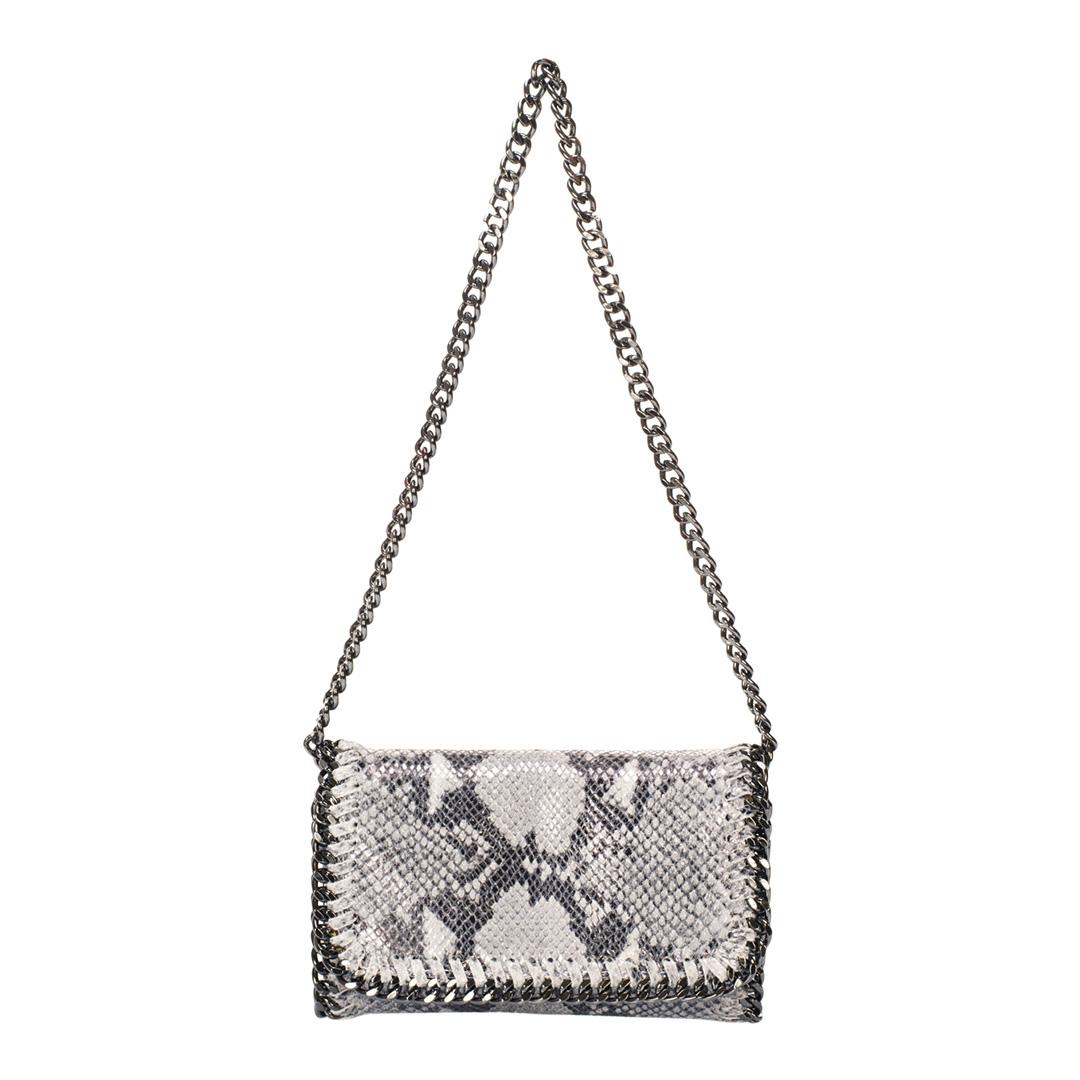 GIULIA MASSARI Grey Snake Print Leather Crossbody Bag