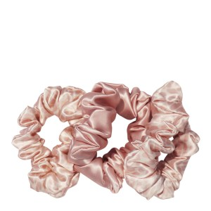 Pack of 3 Silk Large Scrunchies, Pink Snow Leopard