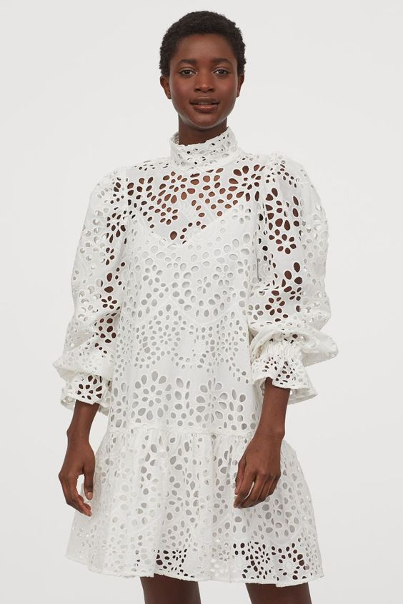 summer 2020 trend broderie anglaise white dress