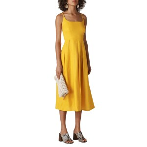 WHISTLES Yellow Strappy Duffy Linen Dress