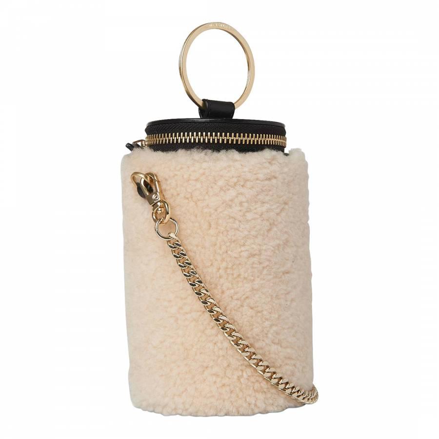 Whistles Cream Eden Shearling Cylindrical Bag