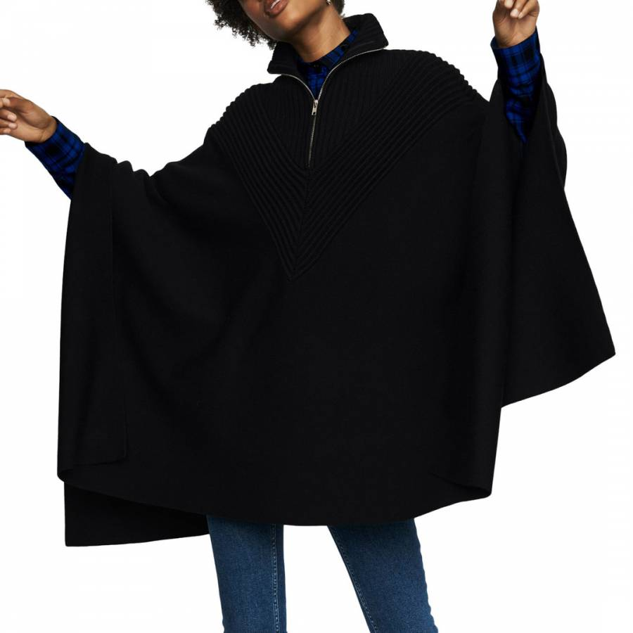 Maje Black 3/4 Zipped Wool Blend Cape