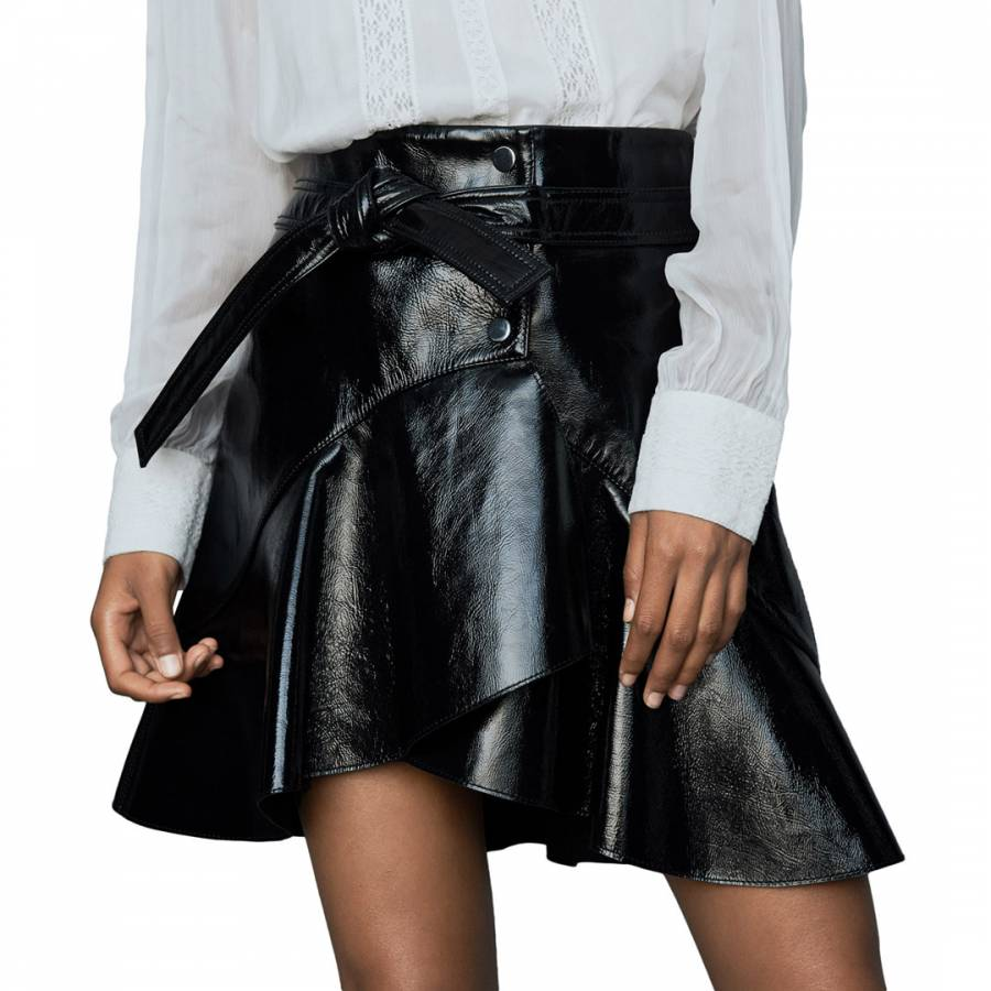 Maje Black Vinyl Leather Skirt