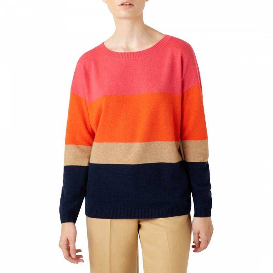 smart knitwear Hobbs Multi Stripe Sofia Cashmere Blend Jumper - £35