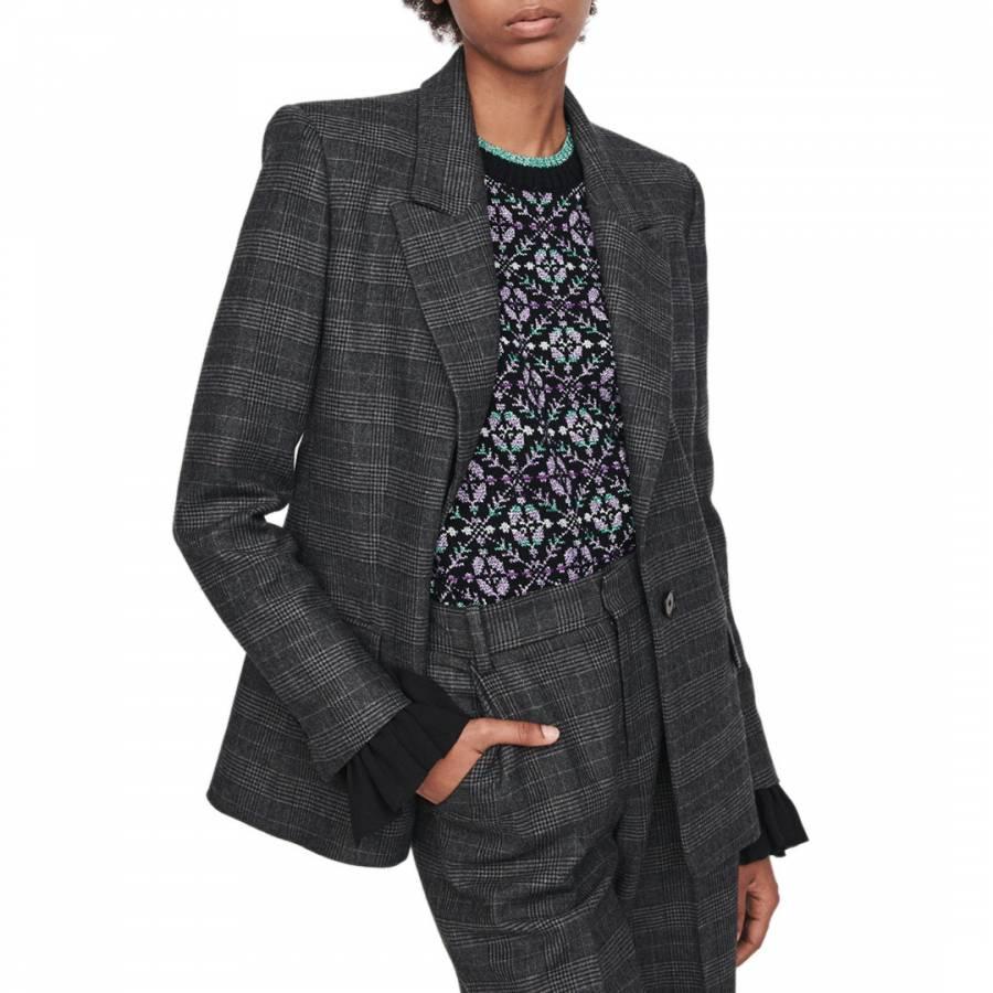 knitted sweatpants Maje Grey Vanda Check Blazer - £99