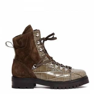 AllSaints Khaki Croc Print Fanka Hiking Boots - £125