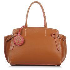 Δερμάτινη Tote Τσάντα Trussardi Gita Satchel Bag Maxi Calf Leather Bicolor 76B00060-2Y000069