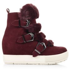 Suede Δερμάτινα Mποτάκια Sneakers Fornarina Burgundy Cow Suede Fur PI19