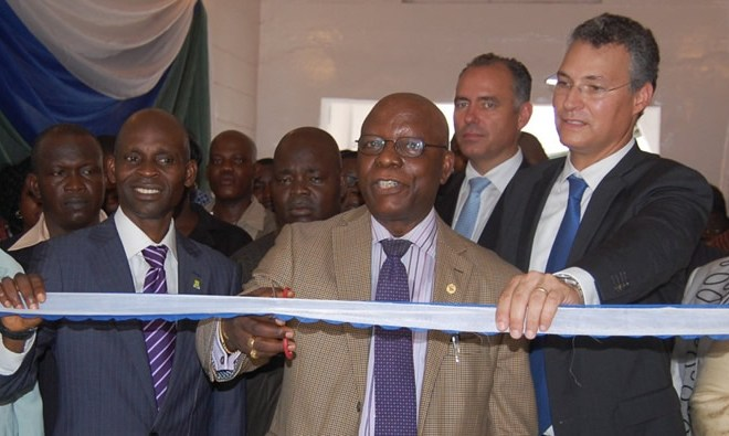 Mr. Joseph Onipede Adunshe, SSA to Lagos State governor on education (science and technology) (cutting the tape) flanked by Dr. Mobolaji Olaseni, deputy Rector, Academic, Yaba College of Technology (2nd left) Mr. Emmanuel Frenck, Vice President Sub-Sahara Africa, Firmenich flavour division (right), Mr. Christian Schawb, Vice President ZIMEA Firmenich flavour division(2nd right) at the commissioning