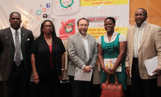 From L-R:Mr Yinka Akande (Director General, Manufacturers' Association of Nigeria), Funke Babatola (Founder, F. B. Initiatives and Innovations Limited),Jimmy Wales Founder, (Wikipedia), Lola Talabi-Oni (CEO Brentt Consulting), Babatunde Bank-Anthony (Executive Secretary, LSSEF-Lagos State Sports Endowment Fund)