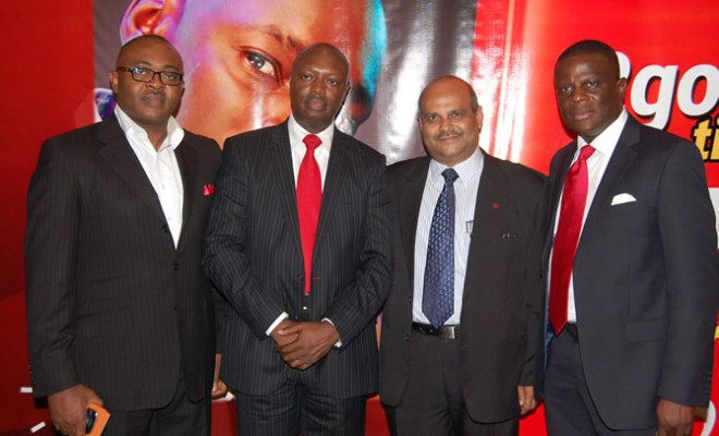 Inusa Bello, Chief Sales Officer, Deepak Srivastava, Chief Operating Officer and Executive Director and Olu Akanmu, Chief Marketing Officer--all of Airtel Nigeria at the launch of Airtel 2Good Times