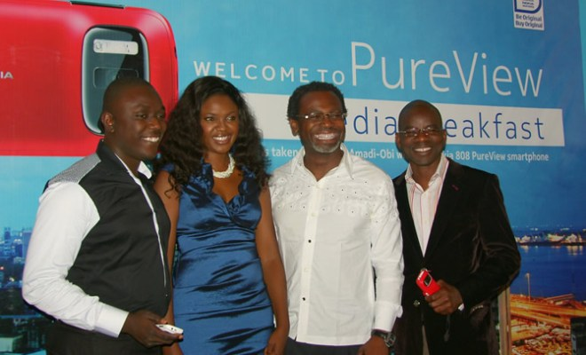 (L-R): Marketing Manager, Nokia, West-Africa, Kesiena Ogbemi; Nollywood Star Actress, Omoni Oboli; Celebrity Photographer, Kelechi Amadi-Obi and Retail Marketing Manager, Nokia, West-Africa, Olajide Adeyemi, at the Media Breakfast-Launch of Nokia 808 PureView, held at Federal Palace Hotel, Victoria Island, Lagos