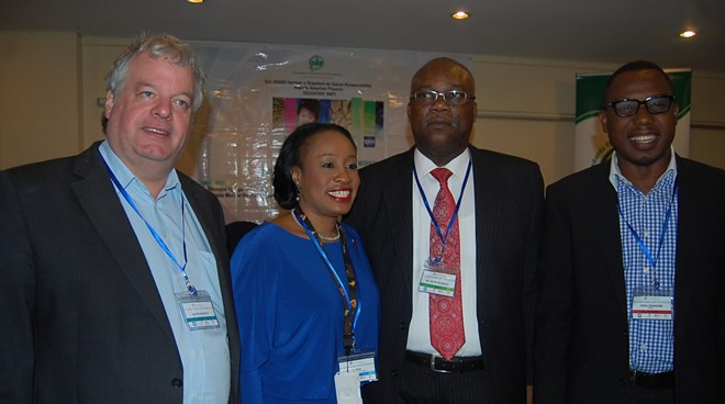 L – R: Chairman, Centre for Corporate Citizenship – Austria, Martin Neureiter, Lead Consultant/CEO ThistlePraxis Consulting, Ini Onuk, Director General, SON, Dr. Joseph Odumodu, MFR and CSR/Internal Communications Manager, Etisalat, Ismail Omamegbe at the Opening Ceremony and National Workshop on the Nigerian Adoption Process of ISO 26000 Guidance Standard on Social Responsibility held in Abuja recently.