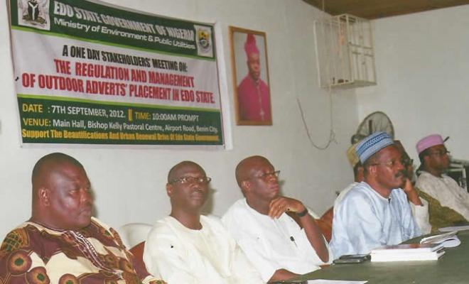 From left: Prince A.E. Akonofua, Director, Ministry of Environment & Public Utilities; Dan Oshodin, Media Management Consultant; Roland Oriakhi Consultant to the State Govt. on Outdoor Advertising Management & Regulation; A.A. Ikhelowa, Permanent Secretary representing the Commissioner of Environment and Public Utilities.