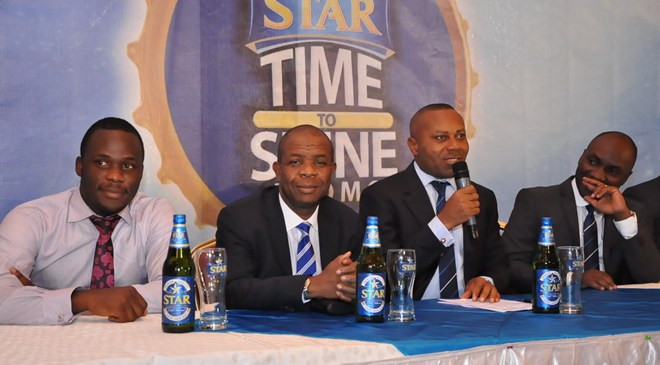 (L-R): Obabiyi Fagade, Brand Manager, Star; Tony Agenmonmen, Marketing Manager, Lager; Edem Vindah, Media & Public Affairs Manager and Sampson Oloche, Senior Brand Manager, Star, all of Nigerian Breweries PLC at the Star Time To Shine Promo Press Conference held recently at the Lagos Brewery Bar, Iganmu.