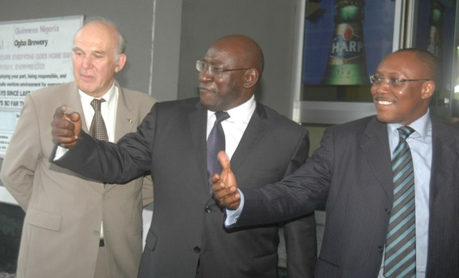 L-R: Rt Hon. Vince Cable MP, UK Secretary of State for Business, Innovation and Skills; Mr Babatunde Savage, Chairman, Guinness Nigeria and Mr Seni Adetu, Managing Director/CEO, Guinness Nigeria at the commissioning of The Beer Membrane Filter of Guinness Nigeria Plc, Ogba Brewery, Ikeja, Lagos