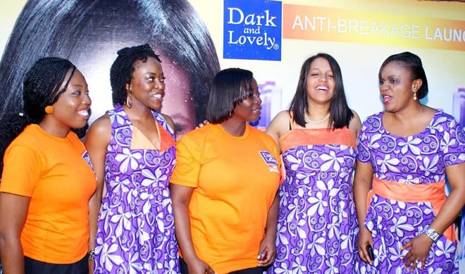 L-R: Mrs Stephanine Obi, Team Member, Dark and Lovely; Mrs Olabisi MacGregor, Country Finance Manager, Mrs Enitan Ashley-Dejo, Country HR Manager; Mrs Severine Fadairo-Lemon, Marketing Director and Mrs Titilola Igri-Offor, Country Education Manager all of L'Oreal Central West Africa at the Dark and Lovely Anti-breakage Hair treatment Cream Launch in Lagos
