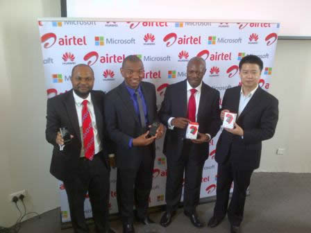Emmanuel Onyeje, Country Manager, Microsoft Anglophone West Africa; Mark Ihimoyan, Mocrosoft West Africa; Chief Sales Officer for Airtel Nigeria, Inusa Bello and Managing Director of Huawei Devices, West Africa Tony Liang Wei