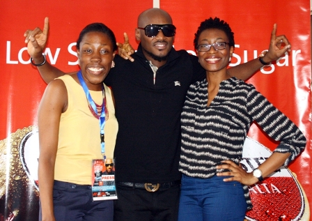 L-R Adeola Odunaiye of Nigerian Breweries plc, popular hip hop megastar Tuface Idibia and Hannatu Ageni Yusuf, Brand Manager Nigerian Breweries plc, at the just concluded Tuface and Friends Campus Connect Tour held at the Institute of Management and Technology (IMT) Enugu and sponsored by Amstel Malta.