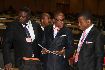 Past President ACAMB/CEO, Prospers Strategy & Marketing Communications Ltd, Lanre Alabi (left), Secretary General, Africa Public Relations Association (APRA)/CEO CMC Connect, Yomi Badejo-Okusanya and President, Association of Corporate Affairs Managers of Banks/CEO, Red Ribbon Ltd, Tunde Shofowora sharing a point at the first All PR & Strategic Communication summit organised by APRA in Addis Ababa in Ethiopia