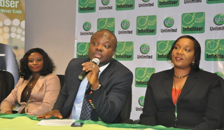 Globacom's Head of Corporate Sales, Kamaldeen Shonibare (middle) flanked from left by Mrs. Abimbola Umozurike of Glo Customer Care and Brenda Akhigbe of Glo Corporate Sales during the launch of Glo's first-of-its-kind post-paid package, Glo Infinitiser in Lagos yesterday