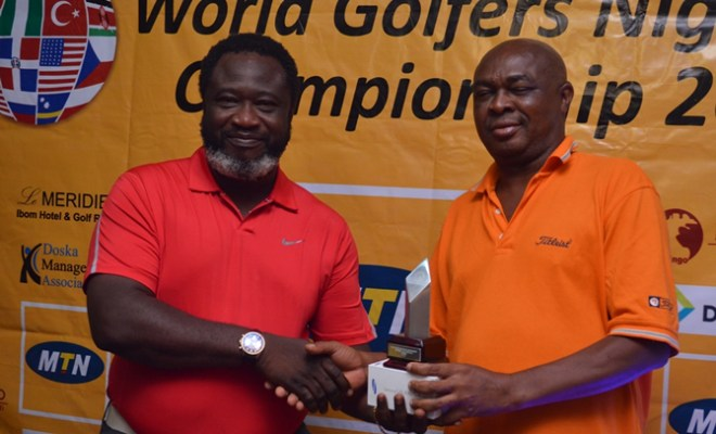 Captain, Ikeja Golf Club, Wole Sowole, left, presenting the trophy to Christopher Obije, winner of the MTN WGC Western regional qualifiers, held at the Ikeja Golf Club on Saturday.
