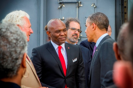 Tony Elumelu, Chairman, Hiers Holdings in discussion with President Barak Obama of the US