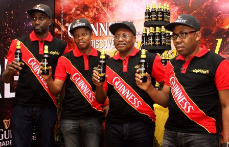 L-R: Marketing Manager, Guinness, Mr. Obinna Anyalebechi; Corporate Relations Director, Mr. Sesan Sobowale; Managing Director and Chief Executive, Mr. Seni Adetu and Marketing and Innovation Director, Mr. Austin Ufomba all of Guinness Nigeria Plc, at the unveiling of the Guinness Foreign Extra Stout new label and packaging