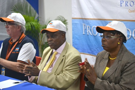 L-R MANAGING DIRECTOR PROMASIDOR NIGERIA LIMITED, CHIEF KEITH RECHARDS; MANAGING DIRECTOR JAWURA ENVIRONMENTAL SERVICES LIMITED PROF OSIBANJO OLADELE AND ASSISTANT DIRECTOR FEDERAL MINISTRY OF LABOUR MRS FAMUSE CATHERINE AT THE PROMASIDOR SAFETY DAY EVENT AT PROMASIDOR OFFICE
