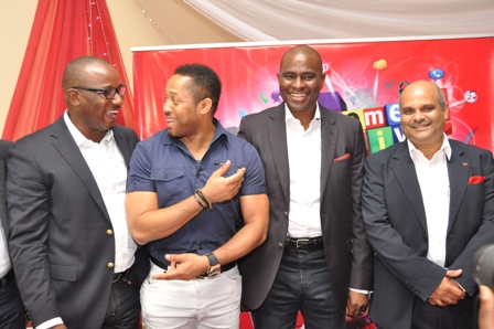 General Manager; Brand Assets, Airtel Nigeria, Obinna Aniche; Popular Nollywood Star, Mike Ezuronye; Chief Executive Officer & Managing Director, Airtel Nigeria, Segun Ogunsanya and Chief Operating Officer & Executive Director, Airtel Nigeria, Deepak Srivastava during the unveiling of the company's new Come Alive brand campaign targeted at youth, at the Sheraton Hotel, Ikeja, Lagos