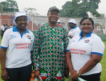 Idu Okwuosa, Compliance Officer, Stanbic IBTC Pension; Comrade Tunji Sekoni, Organiser, TUC and Susan Oranye, Executive Secretary, Pensions Fund Operators of Nigeria at the 2014 Workers day commemoration held in Lagos