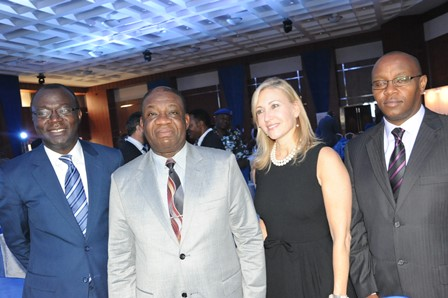 L-R Dr. Lazarus Angbazo, CEO, GE Nigeria, Prof. Chinedu Nebo, Min of Power, and Lorraine Bolsinger, President/CEO GE Distributed Power at the launch of GE Distributed Power initiative in Lagos, Nigeria